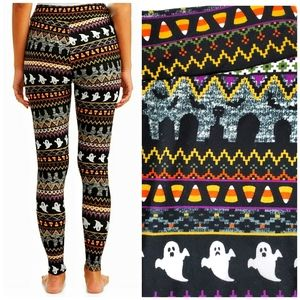 Halloween Fair Isle Soft Knit Leggings Small
